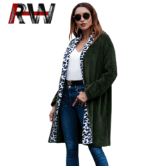 Ryan World Women's Fashion Autumn Winter Warm Coat Casual Long Sleeve Outerwear Fluffy Lapel Jackets army green S