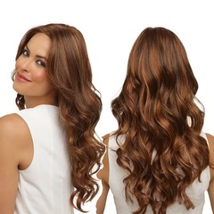 Ryan World New Fashion Vogue Ombre Blonde Mixed Color Long Curly Wavy Hair  Silk Synthetic Wig Brown ONE SIZE