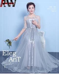 Ryan World 2019 Women Bride&Bridesmaid Wedding Dress White Lace Floor Length  Dress Maxi Party Dress XS Grey