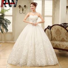 Ryan World  Sweetheart Beaded Lace A Line Wedding Dress Detachable Bowknot S White