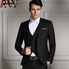 Ryan World 2019 New Men's High Quality Business and Leisure Suit Three-piece Suit Wedding Suit BLACK S
