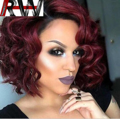 Ryan World Women's Short Wave Curly Heat Resistant Hair Black Wigs Natural Looking Wigs wine red 12 inch