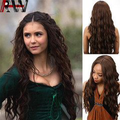 Ryan World 2019 New Fashion Black Long Curly Side Part Synthetic Wig Women's Party Hair Brown 30 inch