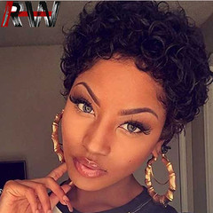 Ryan World Natural Looking Big Curls Pixie Cut Short Wigs For Women  Short Curly Synthetic Hair black 11 inch