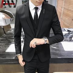 Ryan World 2019 new business casual suit three-piece suit (coat + pants + vest) men's wedding black S