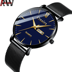 Ryan World Men Analog Quartz Business Watch Stainless Steel Watches Calendar Date Window Wristwatch blue free size