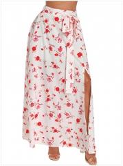 Summer new high waist elastic band bohemian print skirt split skirt 04007 white s