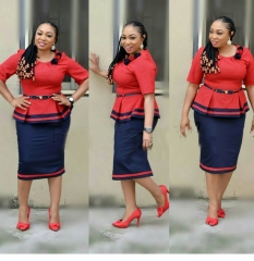 African women stitching contrast color small plaid shirt + skirt suit 03008 red L
