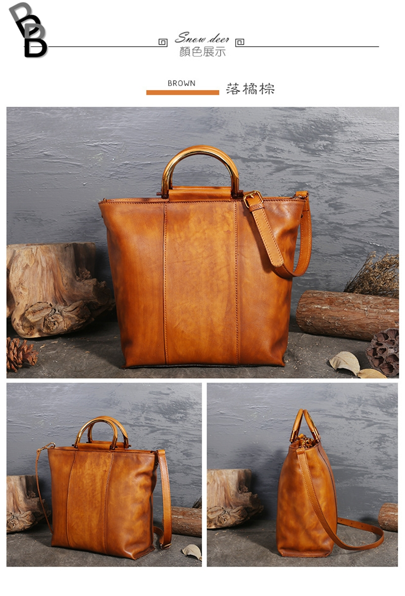 edc15f84fc7a Large capacity top layer full-grain cow genuine leather women s bag retro  lady s cross bag brown one size  Product No  2669581. Item specifics  Brand
