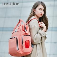 INSULAR one bag Polyester fiber bag Mummy Bag High-capacity Mother and baby bag Orange pink L