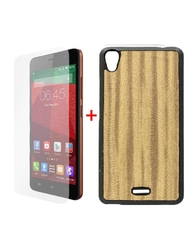 X551 Stylish Pudding Back Cover - Brown + Tempered Glass Screen Protector