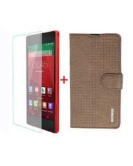 X510 Original Leather Flip Cover - Brown + Tempered Glass Screen Protector