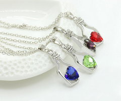 Austrian crystal heart-shaped wishing bottle Necklace & Pendant Red Heart-shaped