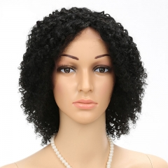 knit by hand lace front wig headgear human wigs Upside down Slanted bangs black 8 inch/100g/pcs