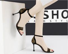 2019 New Ladies Fashion High-heeled Shoes Metal Willow Nail Shoes Sexy Open-toed High-heeled Shoes red 34