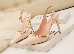 2019 New Lady Pointed Shallow-Mouth High-heeled Shoes, Hollow Willow Nail va va voom black 34