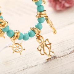New creative retro beach conch rudder octopus pendant anklet Blue Golden one size