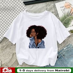 PNR Cool Melanin Black Girl Print Female T-shirt Tshirts for Women Summer Hip Hop Cotton ladies tops Picture color m