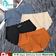 PNR 4pc seamless ice silk panties sexy cotton crotch women's antibacterial waist breathable briefs 4pc- random color XL