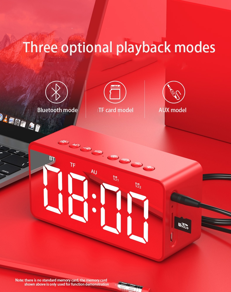 Bluetooth audio wireless mobile phone player portable mini alarm clock  overweight subwoofer audio red other Doremi A23