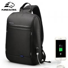 Kingsons High Capacity Chest Bag For Men&Female Canvas Sling Bag Casual Crossbody Bag For Short Trip Black 13 inches