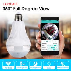 LOOSAFE Wireless Light Bulb Cam 360 Degree Panoramic CCTV WiFI Fish Eye Night Vision Security Camera 720p 2.8MM
