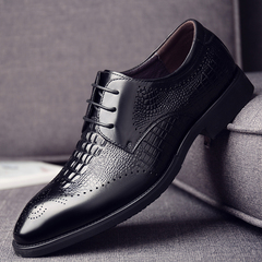 Men's Formal Shoes Genuine Leather Shoe Full Grain Leather Party Dress Office Footwear Classic Shoes black 6 Cow Leather