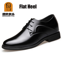 Genuine Leather Full Grain Mens 6cm Heel Party Dress Office Footwear Classic Fashion Formal Shoes Flat heel 6 cow leather