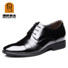 Genuine Leather Full Grain 6cm Heel Men's Formal Shoes Party Dress Office Footwear Classic Shoes black 5.5 cow leather