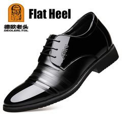 Genuine Patent Leather 6cm Heel Increased Men's Party Dress Office Footwear Classic Formal Shoes lace up flat heel 6 cow leather