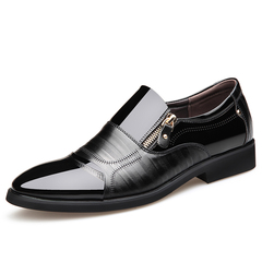 PU Patent Leather Shoe Men's Formal Shoes Derby Shoes Party Dress Office Footwear Classic Shoes black 6 pu