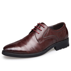 Luxury Sheepskin Genuine Leather Men's Pointed Toe Derby Party Wedding Dress Office Formal Shoes brown 9.5 genuine leather