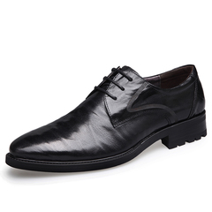 Luxury Sheepskin Genuine Leather Men's Pointed Toe Derby Party Wedding Dress Office Formal Shoes black 6 genuine leather