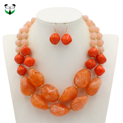 Jelly color ladies necklace, hanging neck double layer decoration, send earrings, beautiful gifts orange routine