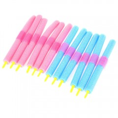 12pcs / Set Soft Foam Anion Bendy Hair Rollers Cur COLORMIX