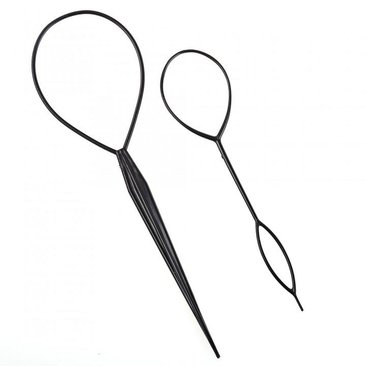 2pcs Ponytail Hair Braider Plastic Loop Styling To BLACK