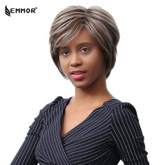 EMMOR Short Natural Straight Gray and White Heat-r GREY AND WHITE