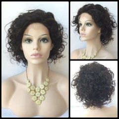 Short Wave Lace Front Human Hair Wig BLACK