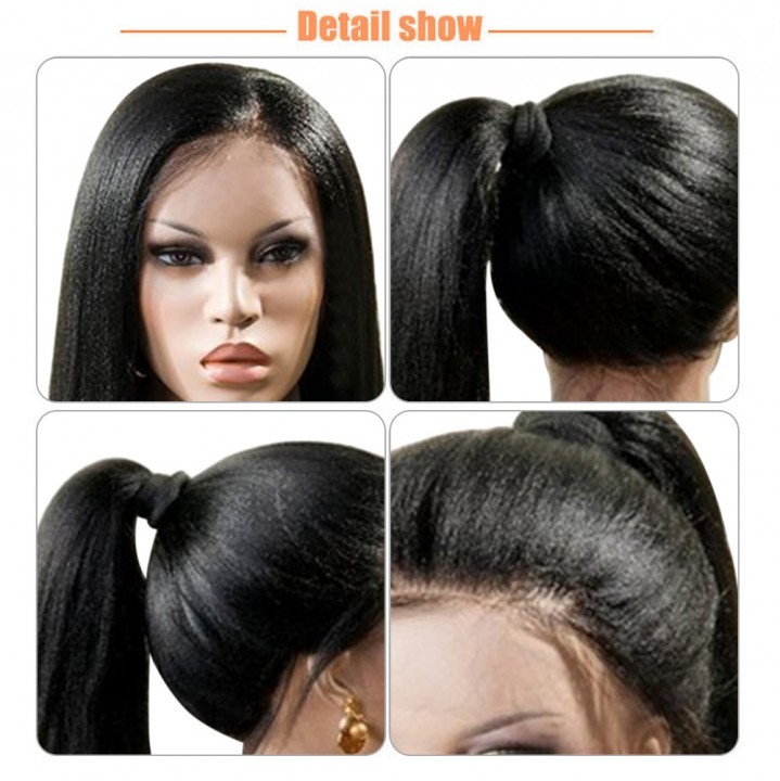 Gustala Synthetic Lace Front Kinky Straight Wig Hand Tied Glueless High Density Party Show