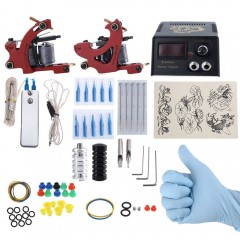 Complete Tattoo Kit 2 Tattoo Machines Power Supply RED EU PLUG