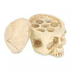 Hard Resin 7 Holes Tattoo Skull Head Holder Stand  OFF-WHITE