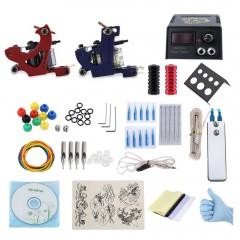 Professional Tattoo Kit 2 Machine Gun Power Supply BLUE AND RED TWO PIN US PLUG