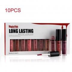 Magical Halo 10pcs/set Long Lasting Waterproof Luster Matte Liquid Lipstick