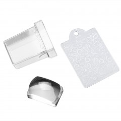 2pcs/set Transparent Stamp Nail Art Clear Jelly Silicone Stamper+Scraper Tool as picture default