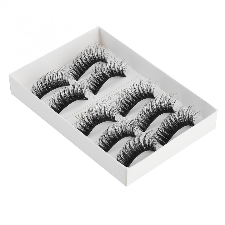 F57 Handmade False Eyelash Without Trace Transparent Stem Pure Manual as picture