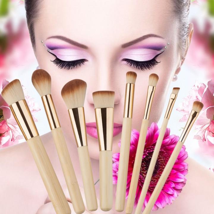 8PCS Professional Golden Tube Makeup Brushes Facial Daily Makeup Tools gold
