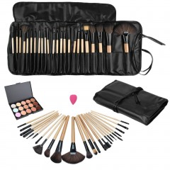 15 Color Concealer Platte + 24pcs Pro Makeup Cosmetic Brushes + Sponge Puff as picture