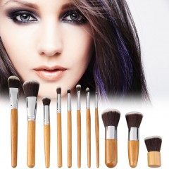11 Pieces Makeup Brush Set with A Cloth Bag Comestic Brushes Wooden Bamboo as picture