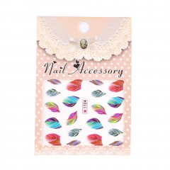 Feather Nail Art Water Transfer Decal Sticker Rainbow Dreams Bright Color Hot