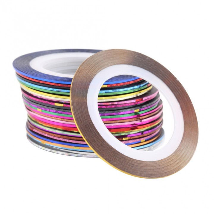 30 Mixed Colors Rolls Striping Tape Line Nail Art Tips Decoration Sticker random 4.3*0.1cm